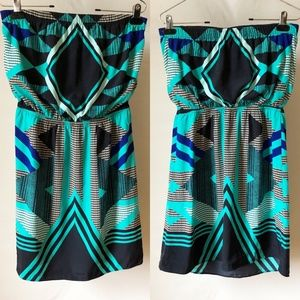 NWOT Express Strapless Dress Blue Green Print Med